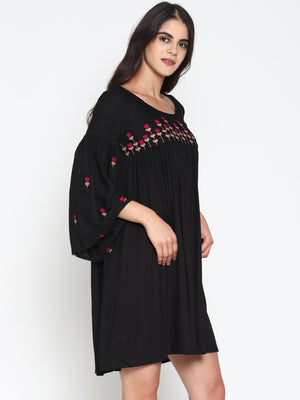 Embroidered Gathered Dress with Bell Sleeves | UNTUNG