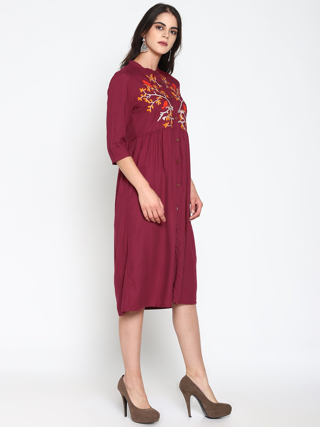 Maroon Embroidered Dress