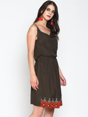 Grey Strappy Embroidered Skater Dress | Untung