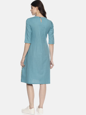 Light Blue Embroidered Dress With Border Print | Untung