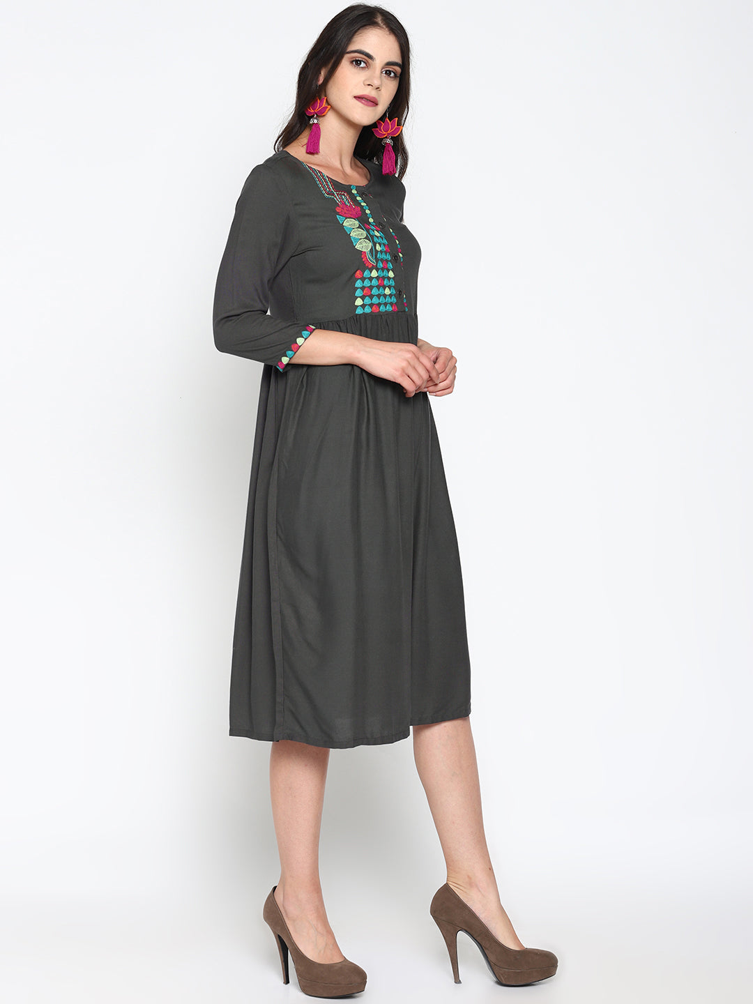 Grey Embroidered Front Open Dress | Untung