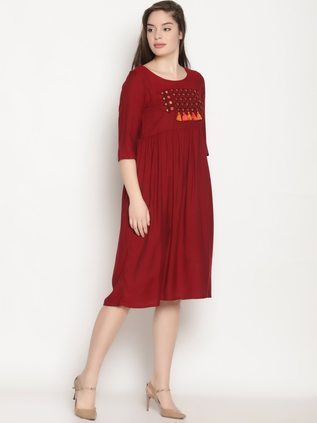 Maroon Embroidered Shift Dress | Untung