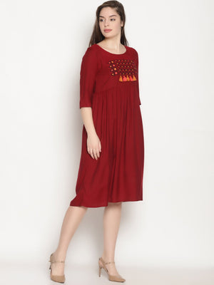 Maroon Gathered Dress With Chest Embroidery And Tassels | UNTUNG
