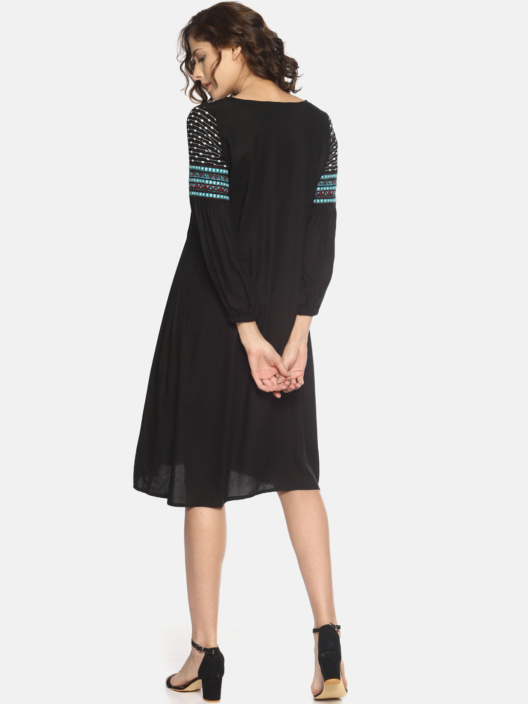 Black Dress With Embroidered Sleeves | Untung