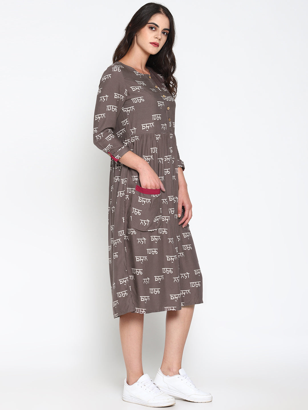 Grey Calligraphy Printed Dress | Untung