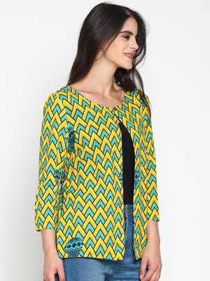 Yellow Printed Open-front Shrug | Untung