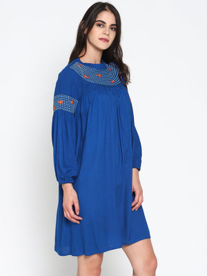 Gathered Dress With Embroidery | UNTUNG