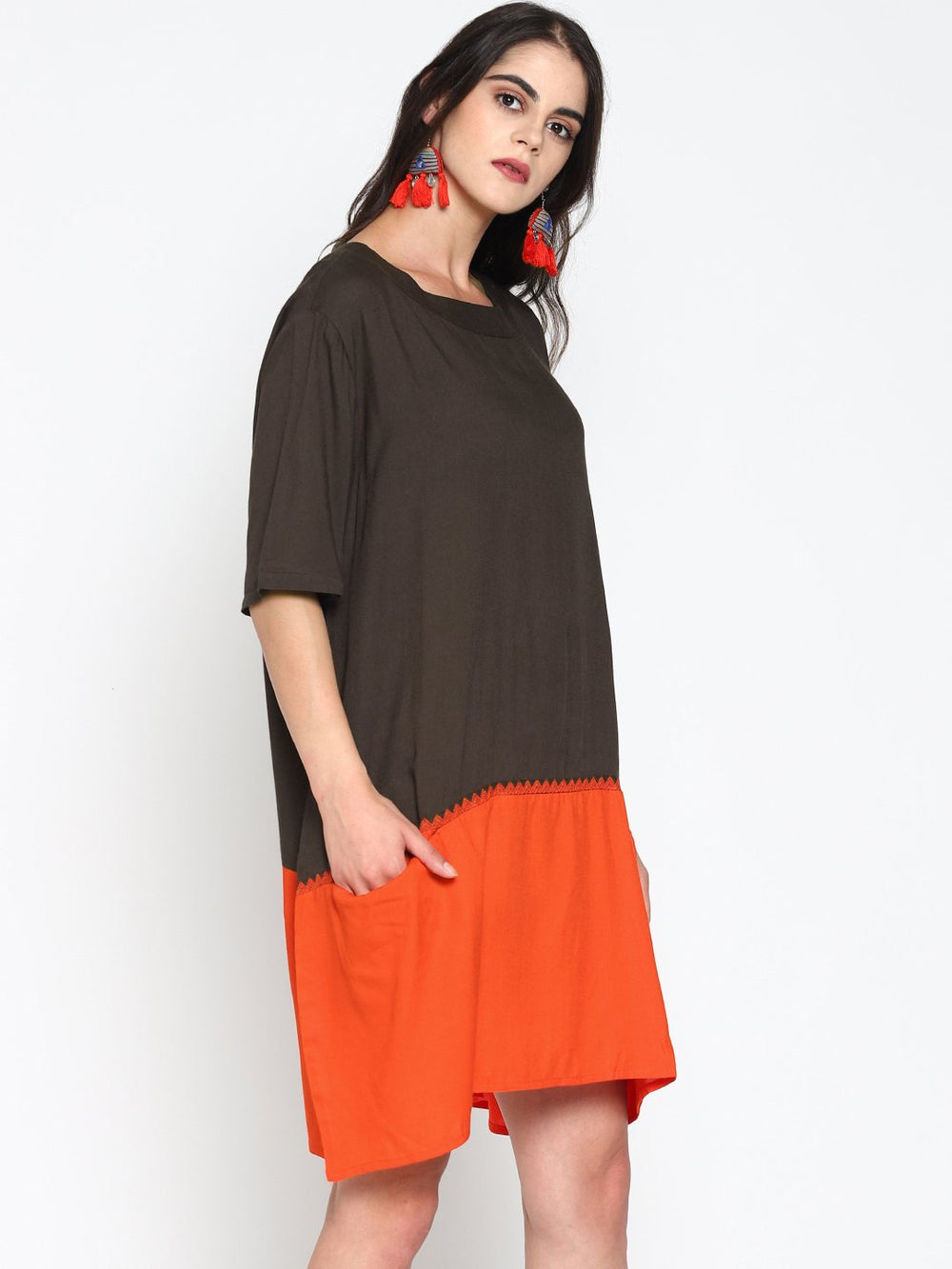 Color Block Oversized Shift Dress | Untung