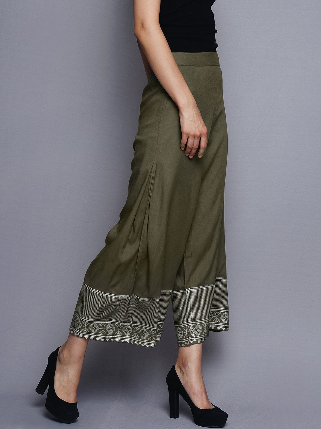 Olive Green Pallazo With Printed Border | Untung
