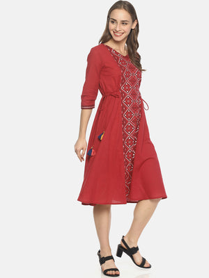 Red Printed A-line Dress With Waist Tie-up | Untung
