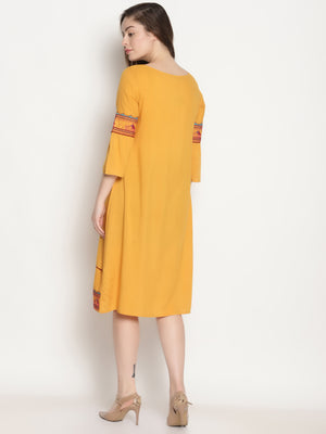 Yellow Embroidered Shift Dress with Ruffled Sleeves | UNTUNG