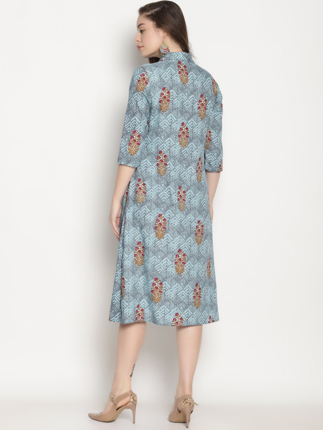 Blue Printed Cape Dress | Untung