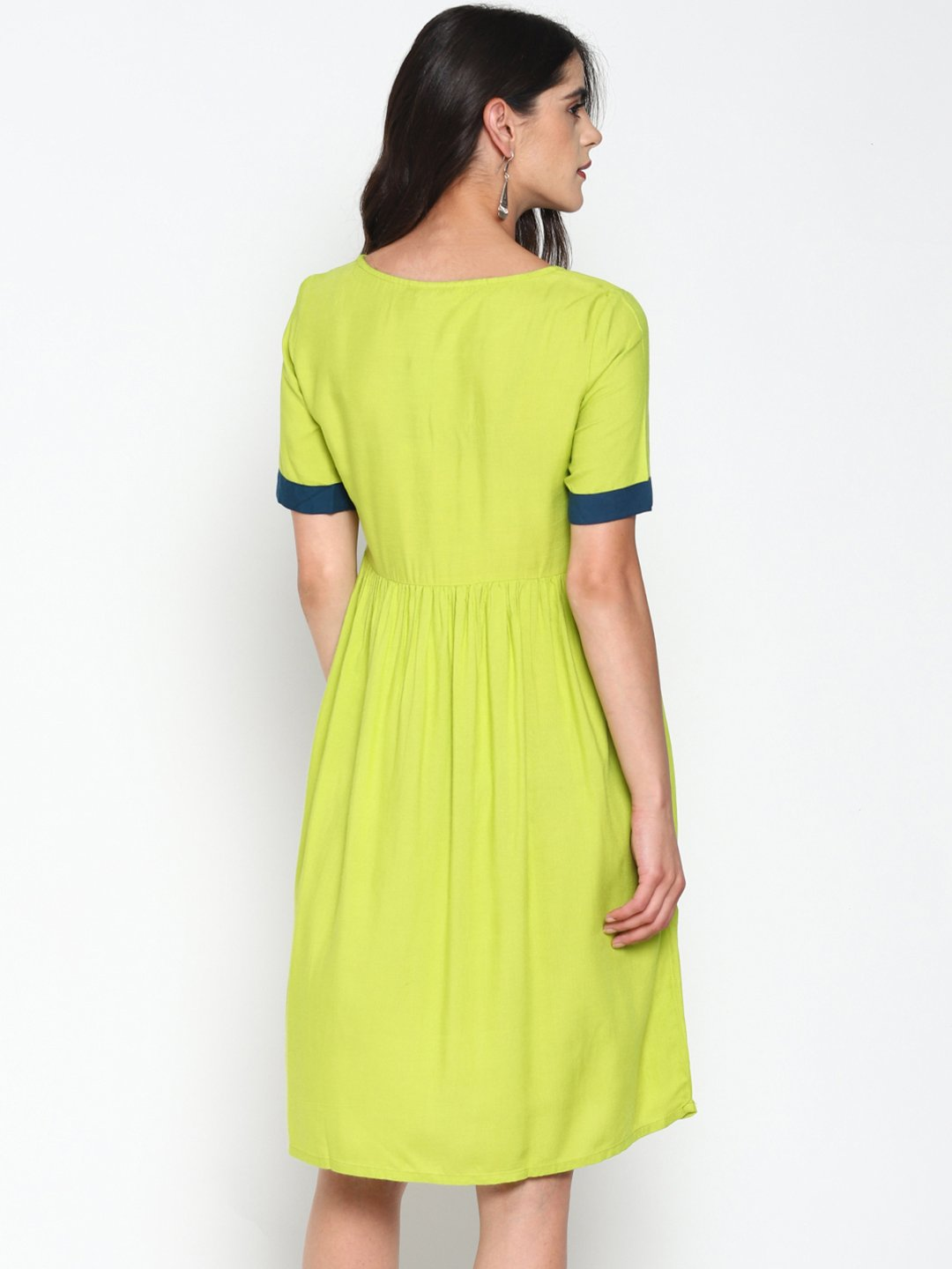 Lime Green Embroidered Skater Dress | Untung