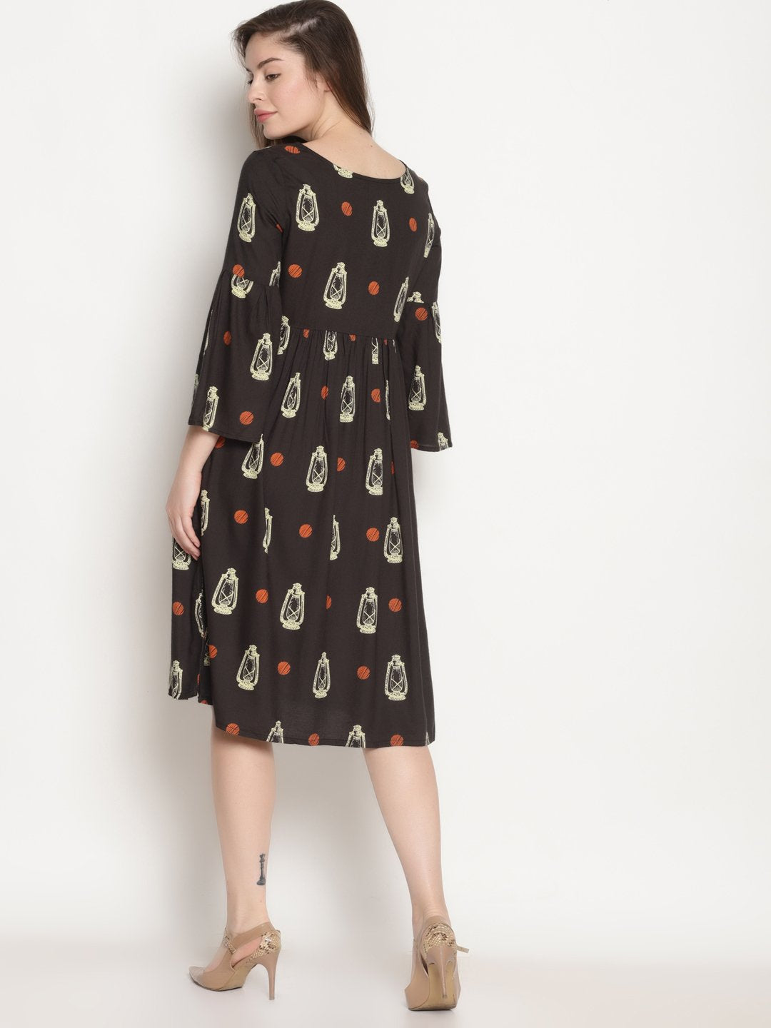 Black Lalten Printed Dress | Untung
