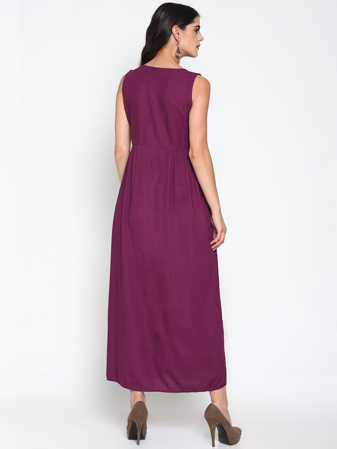 Purple Embroidered Maxi Dress | UNTUNG