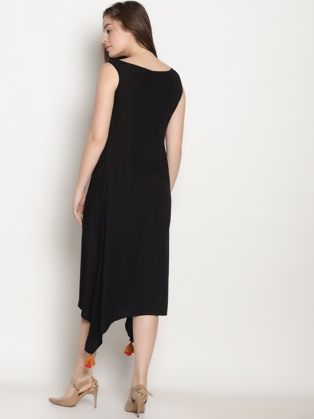 Black High Low Dress With Zari Embroidery | UNTUNG