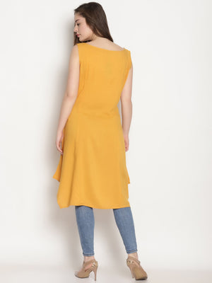 Yellow Embroidered Asymmetrical Kurta | Untung