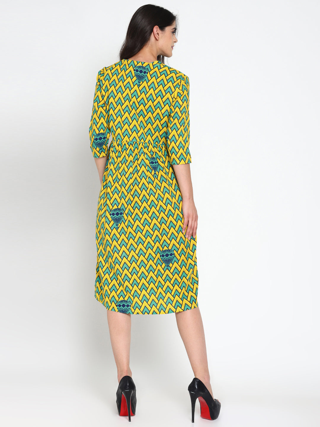 Printed Dress with Front Pockets | UNTUNG