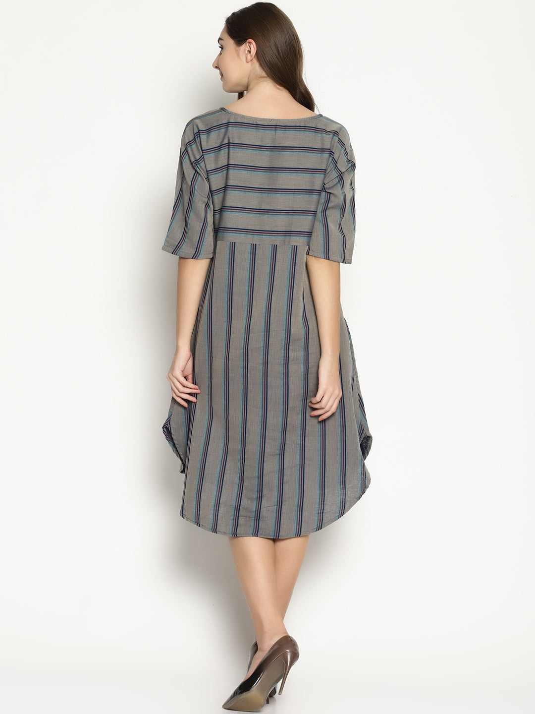 Grey Striped Dress With Curved Hem | UNTUNG