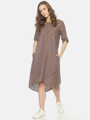 Grey Dress With Gota Embroidery | Untung