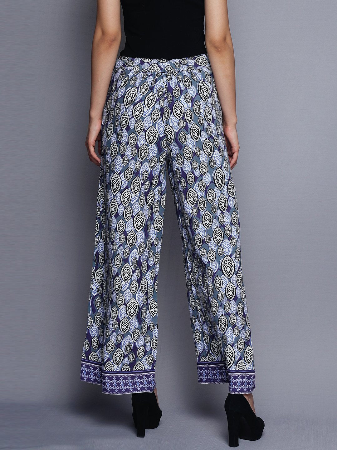 Blue All Over Printed Pallazo | Untung