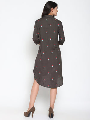 Embroidered High Low Shirt Dress