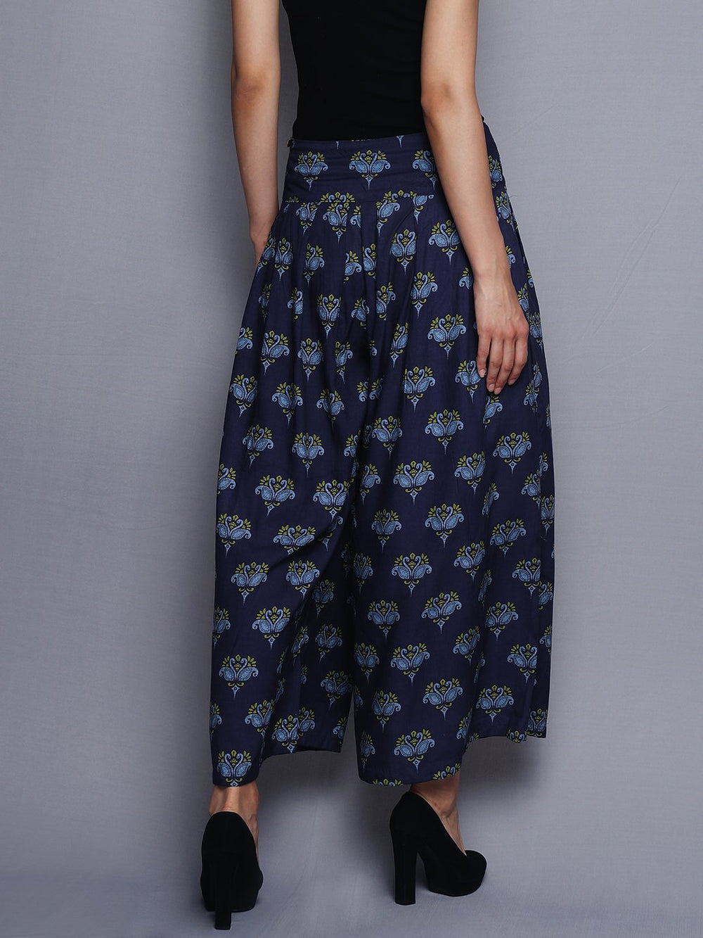 Blue All Over Print Flared Pants | Untung