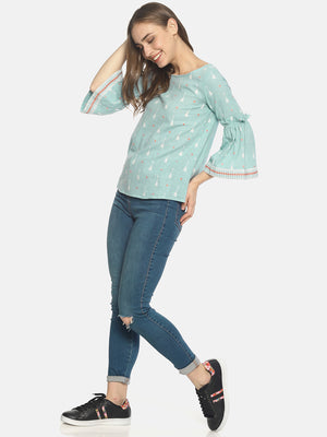 Blue Block Printed top with ruffled bell sleeves