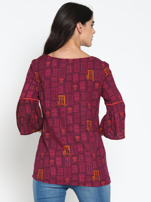 Wine Printed Top With Ruffled Sleeves | Untung