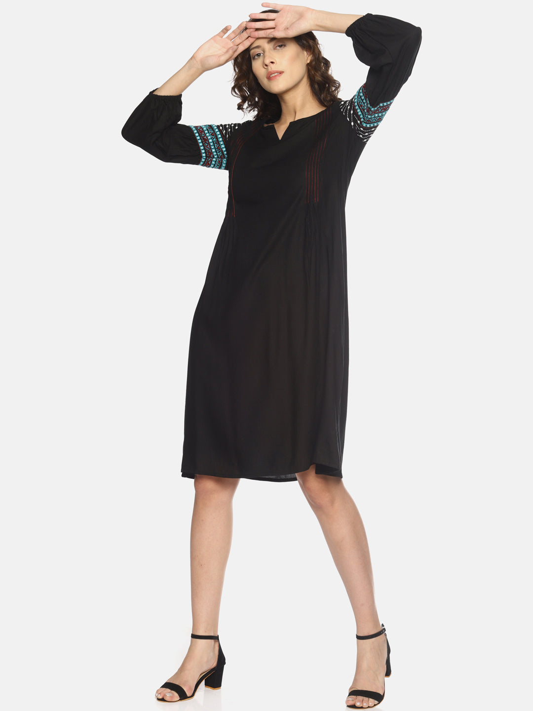 Black Dress With Pintucks and Embroidered Sleeves | UNTUNG