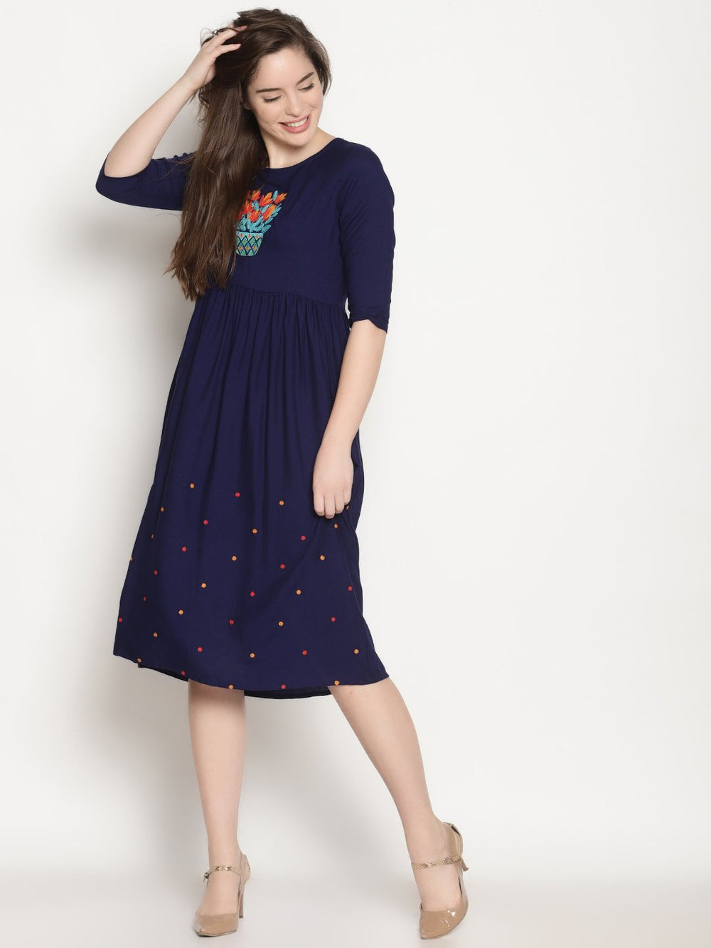 Navy Blue Embroidered Dress | Untung