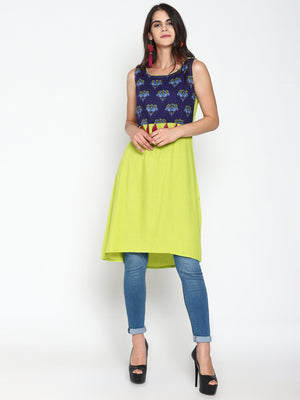 Lime a Line Dress With Printed Yoke | Untung