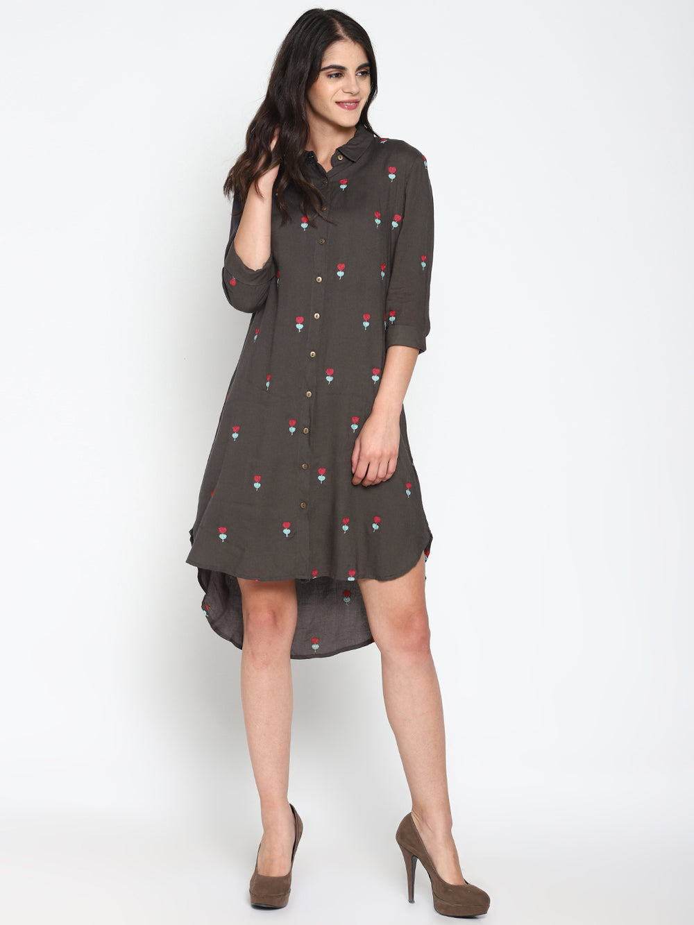 Grey Embroidered High Low Shirt Dress | Untung