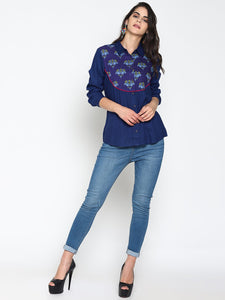 Blue Shirt With Printed Yoke