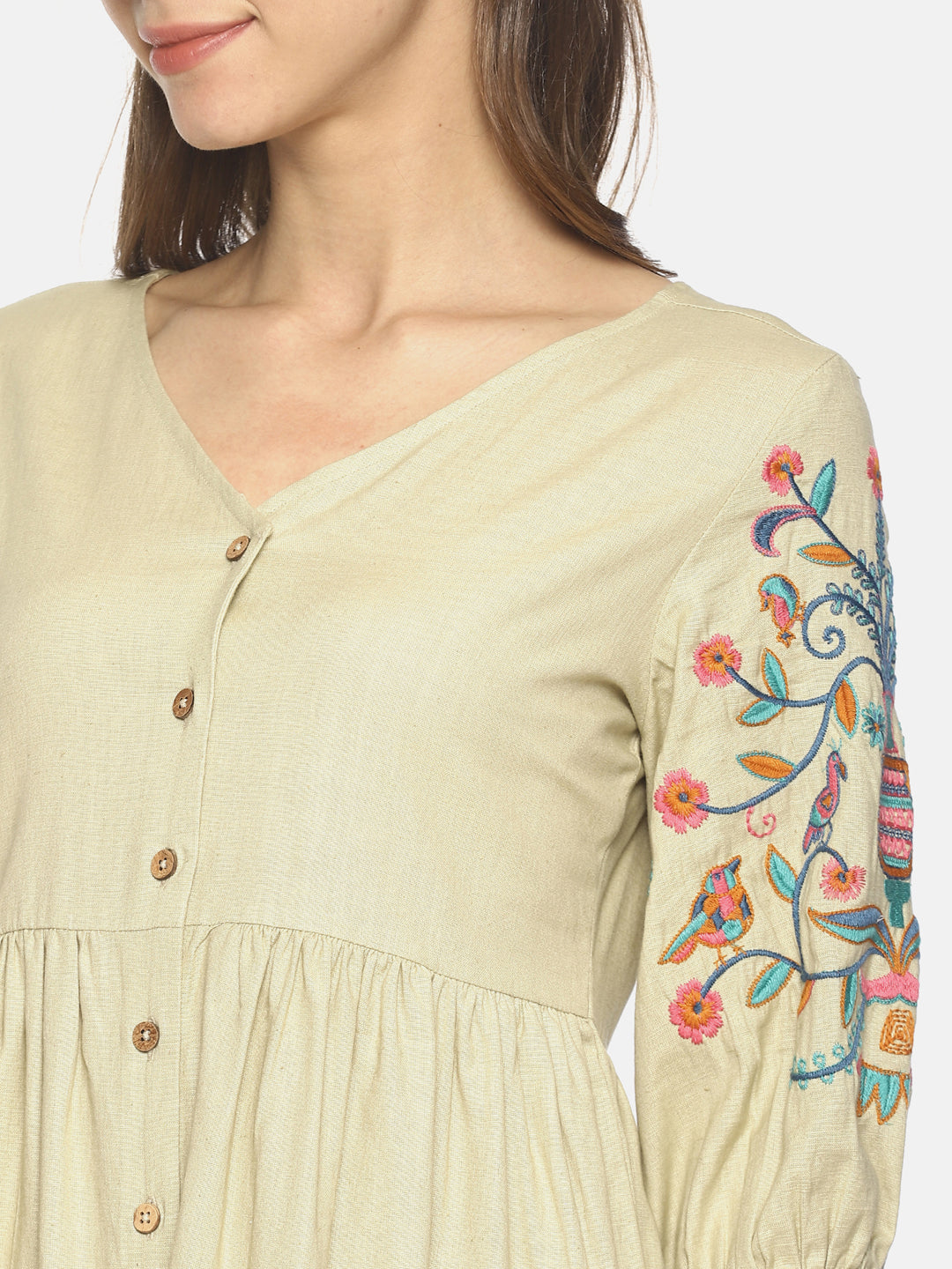 Beige front open gathered dress with embroidered sleeves