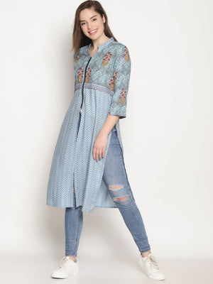 Blue Mix n Match Printed Kurta With Front Zipper | UNTUNG