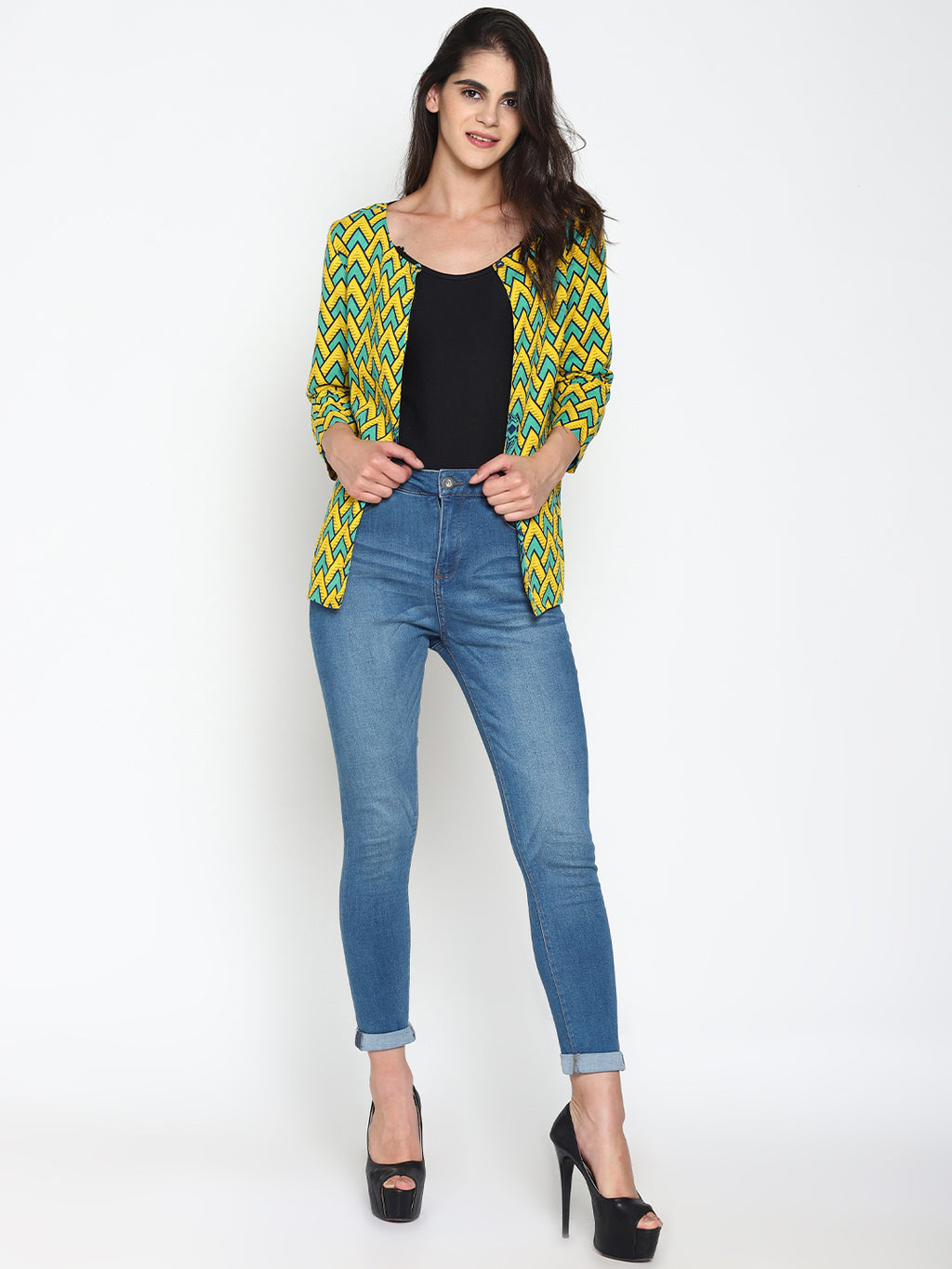 Printed Open-Front Cotton Shrug