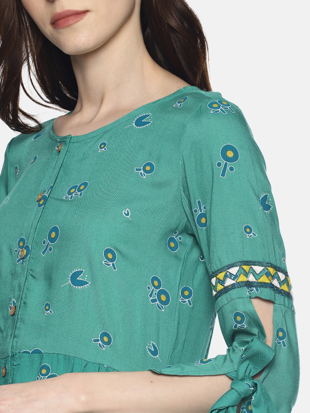 Mint Printed Dress With Embroidered Sleeves | Untung