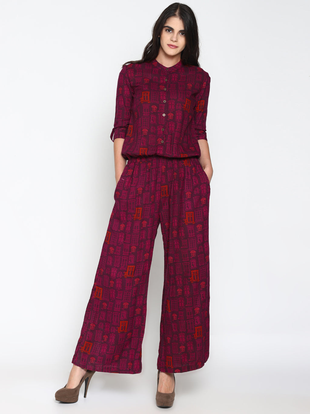 Printed Jumpsuit with Shirt Collar | UNTUNG