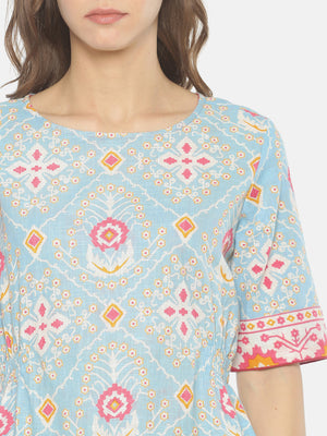 Light Blue Printed Top With Elasticated Waist | Untung