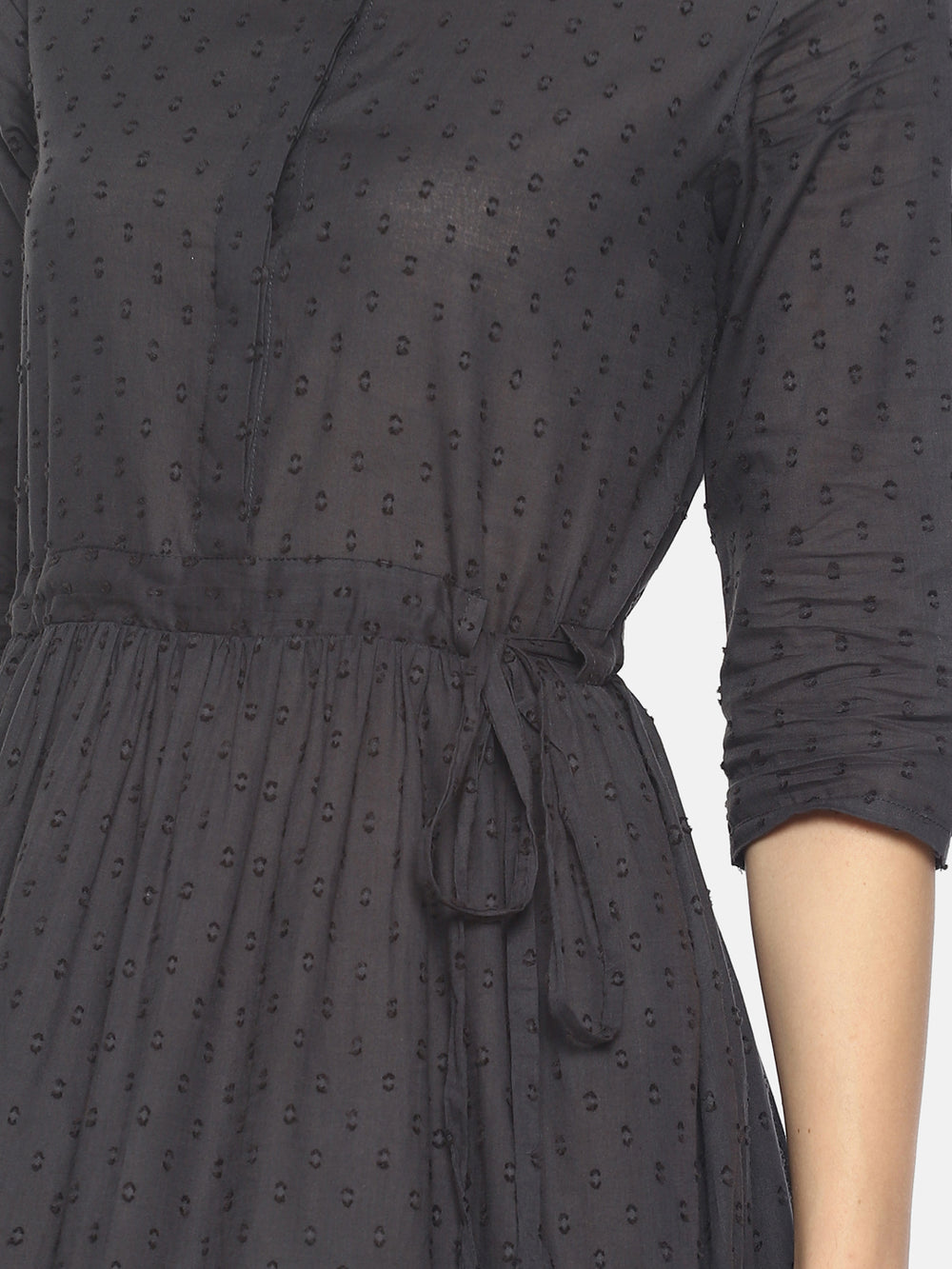 Grey Front Open Dress With Printed Hem | Untung