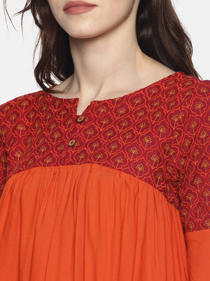 Orange Color Block Gathered Top With Embroidery | Untung