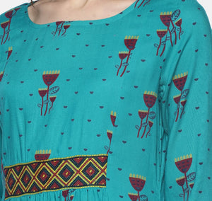 Turquoise Printed Dress With Aztec Embroidery | Untung