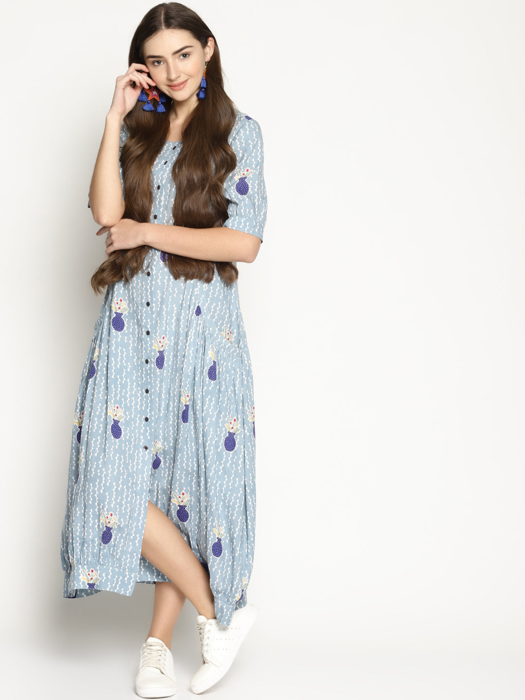 Light Grey Vase Printed A Line Dress | UNTUNG