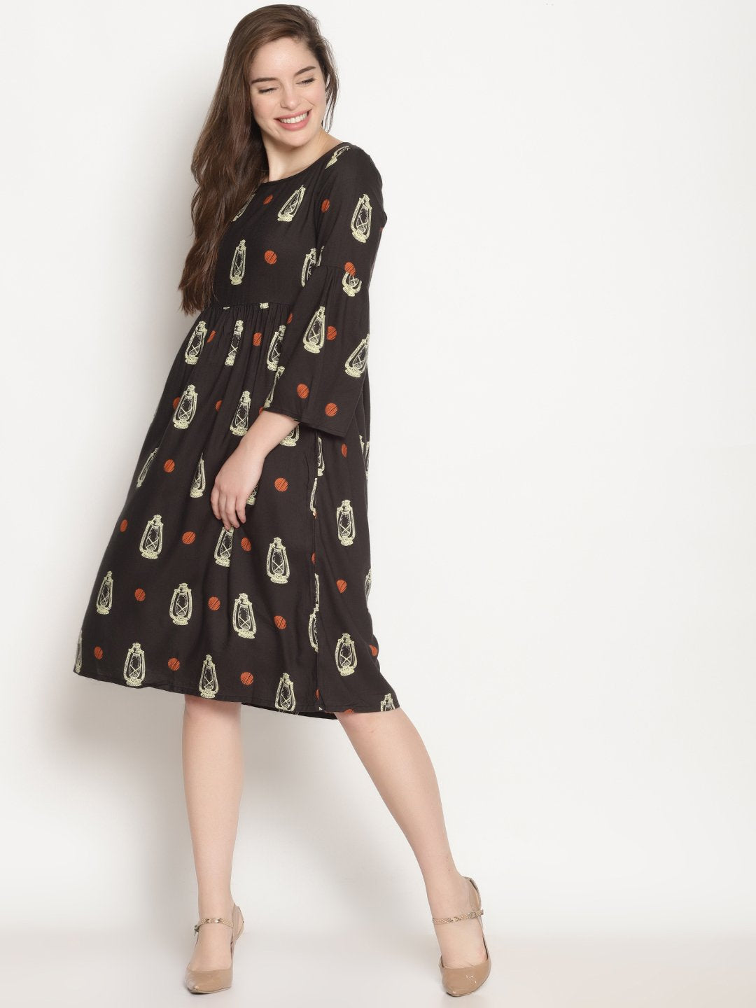 Black Lantern Printed Dress | UNTUNG