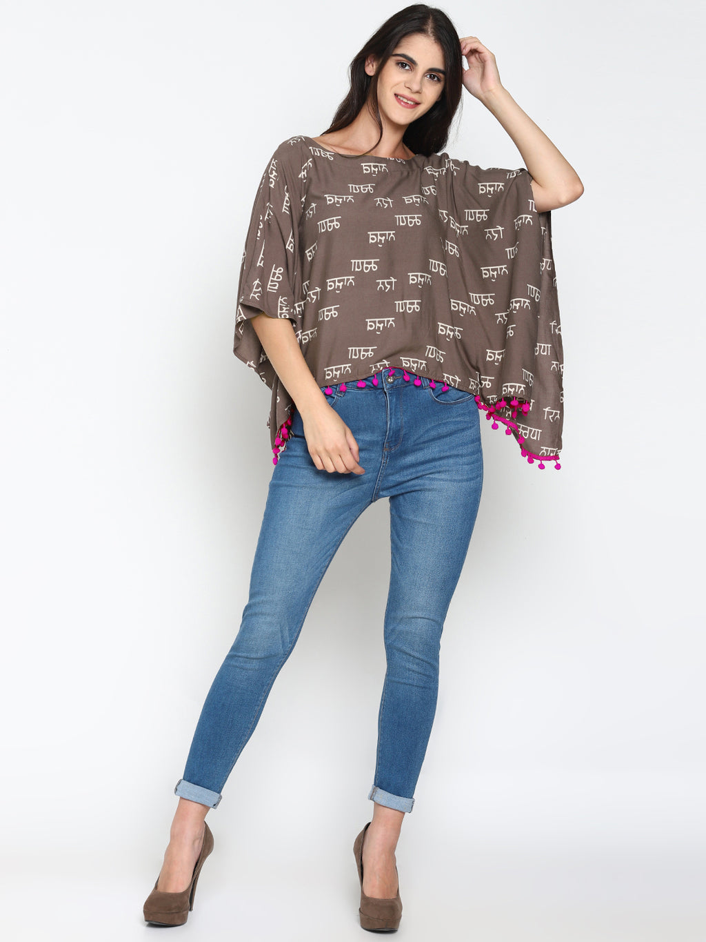 Calligraphy Printed Kaftan Top