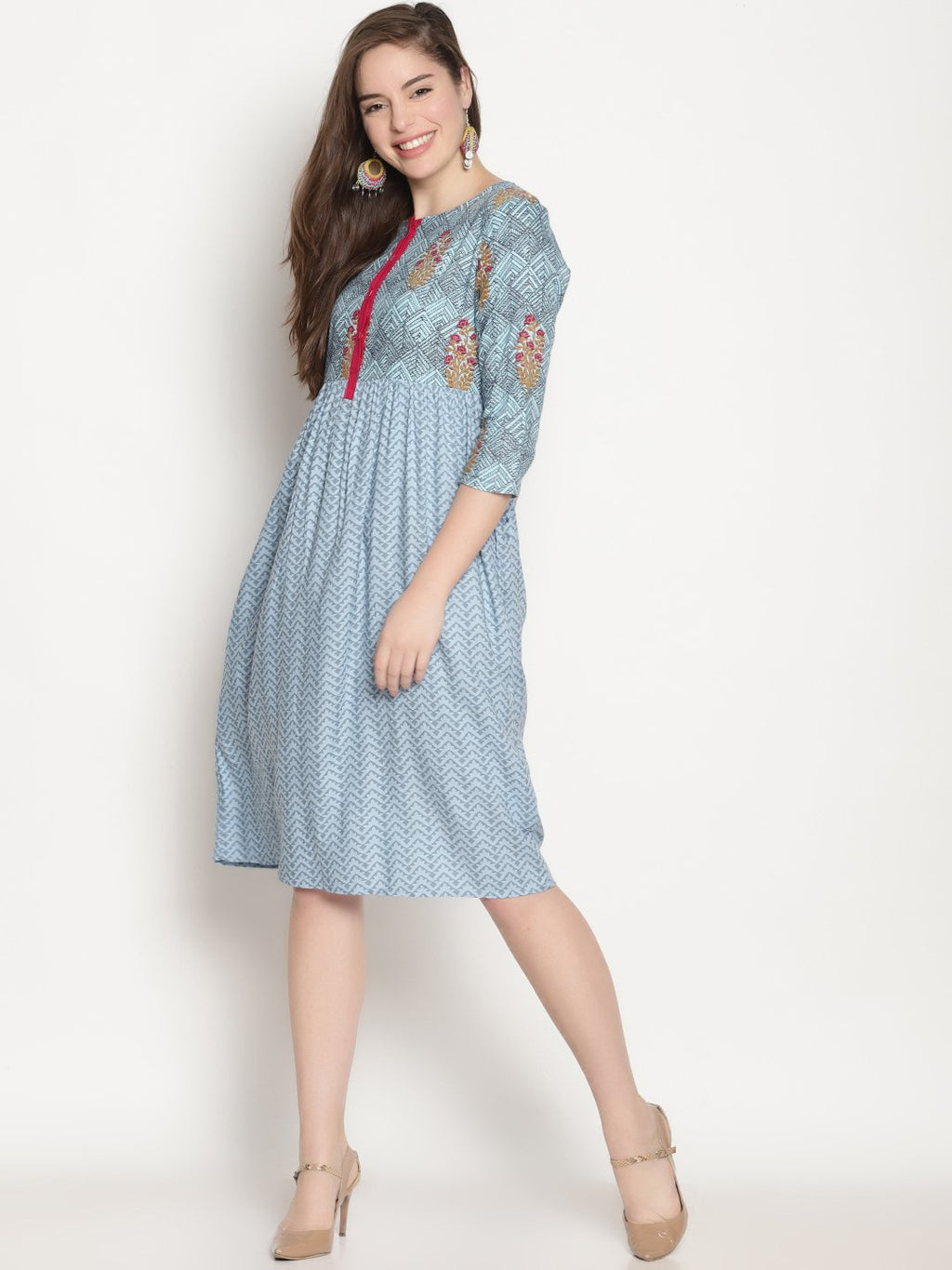 Blue Printed Dress | Untung
