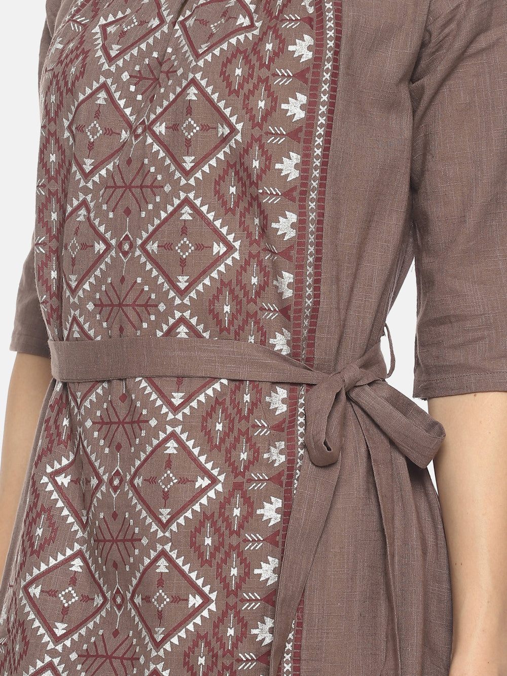 Grey Printed Dress With Tie-up Belt | Untung