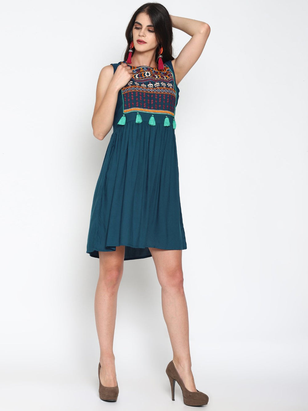 Teal Skater Dress With Embroidered Yoke | Untung