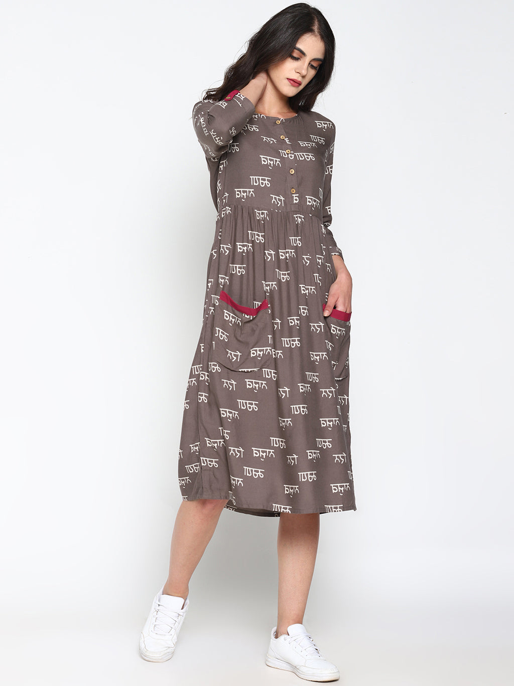 Calligraphy Printed Dress